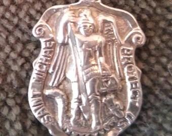 Vintage Sterling Silver St. Michael's Medal