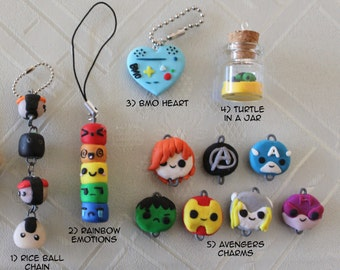 Assorted Polymer Clay - Rice Ball, Rainbow Emotions, BMO Heart, Turtle in a Jar, Avengers Charms
