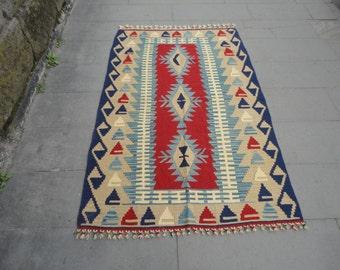 Kilim rug,Geometric design oushak rug,Turkish Vintage rug,blue color wool rug,kelim,hand woven rug,flat woven rug,67 x 42 bohemian rug !!!