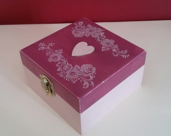 Wooden box raspberry, with wooden heart pearly light pink applied. Wedding ring box. Wedding cards box. French provencial, cottage chic. OOAK