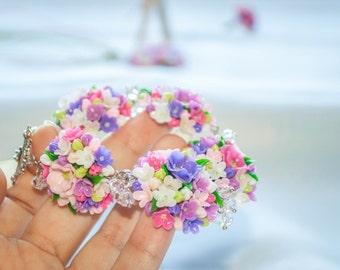 Pink bracelet Purple bracelet Pink white purple Lilac jewelry Polymer clay bracelet Purple flower bracelet Clay flowers Lilac bracelet Gift