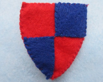 KNIGHT SHIELD felt BADGE/brooch  gift,birthday,party favour,bag,Medieval,castle,heradry,red&blue