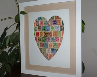 Vintage Heart Picture - Stamp Art - Unique Gift for Wedding or Anniversary