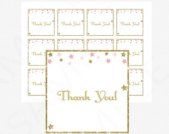 Twinkle Twinkle Little Star Baby Shower Thank You Tags, Pink Gold Baby Shower, Printable Favor Tags, Baby Shower Decor, Favor Cards, STPG