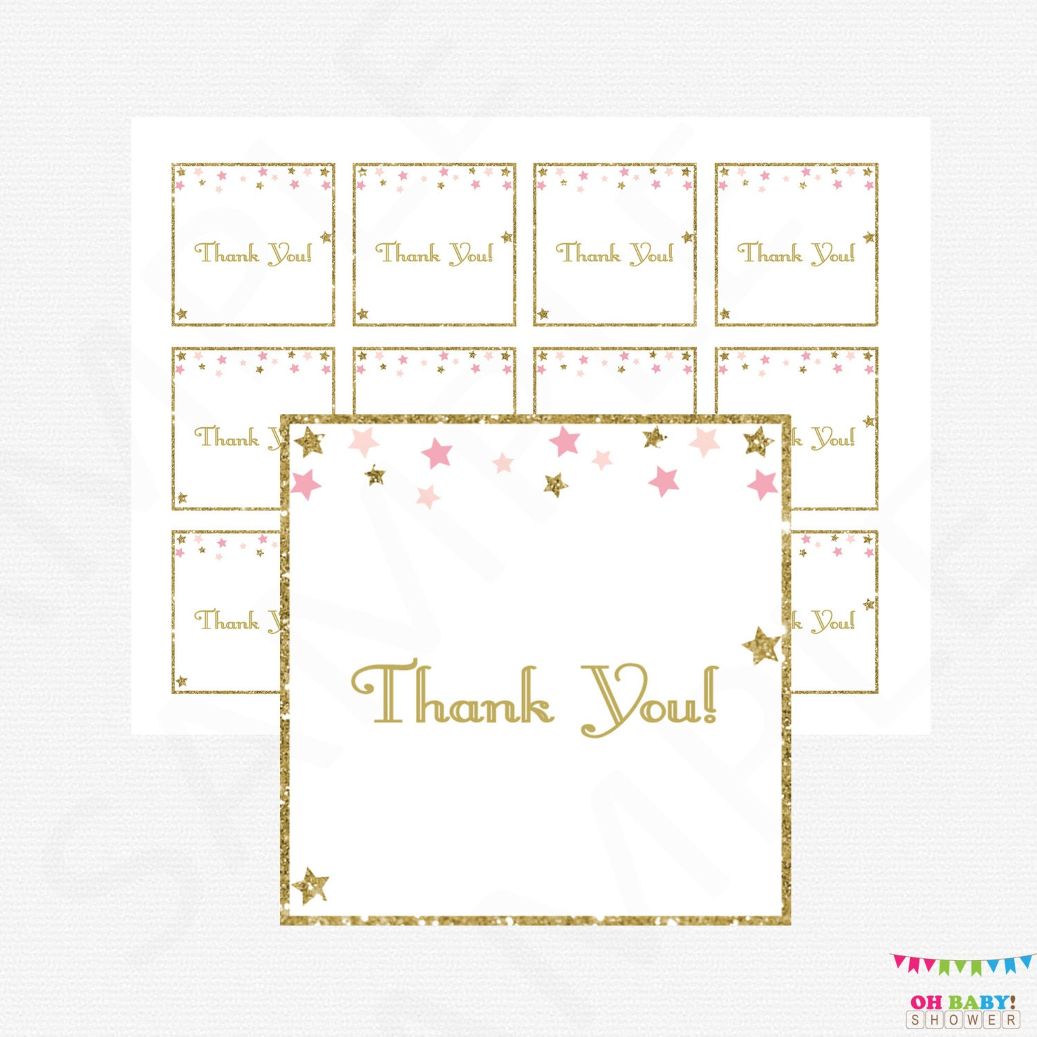 Twinkle Twinkle Little Star Baby Shower Thank You Tags Pink