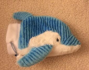 Blu the striped Dolphin chalk bag, rock climbing bag, trinket bag, stroller bag