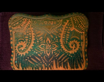 Green and yellow boho jewelry box