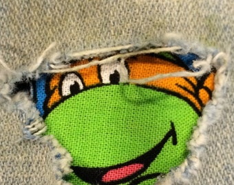 "Set of 4 Teenage Mutant Ninja Turtel Patches ""Peek a Boo""  Jean Patches Super Strong Iron On- Denim by Hol(e)y Patches"