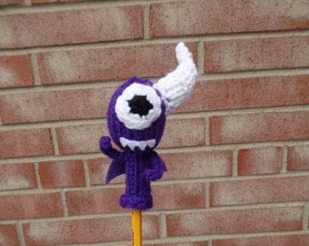 One Eyed, One Horned, Winged Purple People Eater Pencil Topper, Pencil Puppet, Pen Cozy, Pencil Cozy
