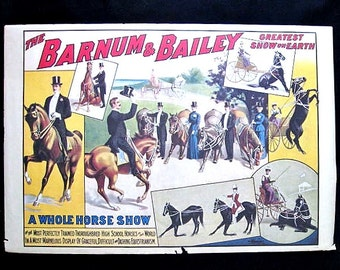 Vintage Barnum & Bailey Circus Horse Show Poster