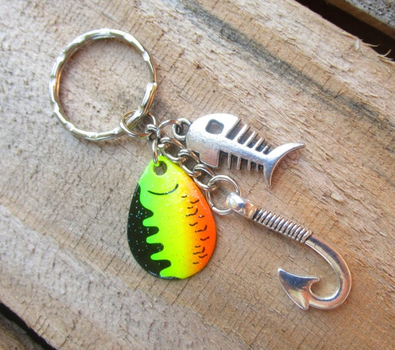 Fish hook keychain with a fishing blade bonefish charm for Fish hook keychain