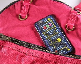 Pac-Man Case IPhone 6 (5/5S), Cross Stitch Case for IPhone 6/6S, Cellphone Case, Finished Cross Stitch, Pac-Man Cross Stitch, Geek