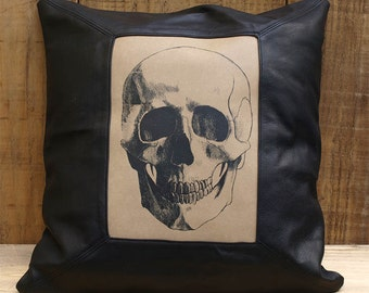 Skull printed leather cushion