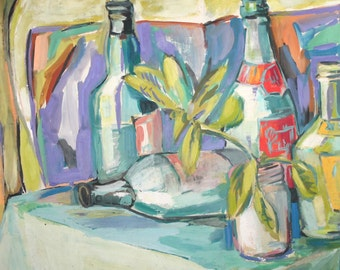 Expressionist still life bottles gouache painting