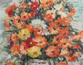 Impressionist Still Life flowers vintage oil painting signed