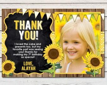 "Sunflower Girl Printable 4"" x 6"" Thank You Card - DIY - PDF & JPG Files only"