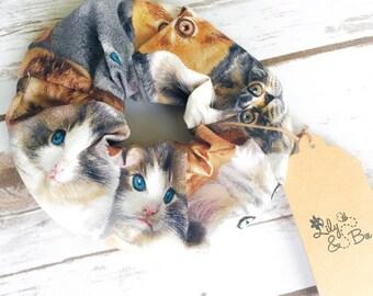 Cat Scrunchie - Realistic Kitten Hair Bobble - Feline Hairtie - Pet Ponytail Holder - Brown Beige Kitty Elastic - Stocking Filler