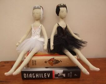 Odette, White Swan doll from Swan Lake - Ballerina cloth doll