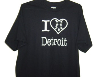 """Detroit  funny T/Shirt black """" I love Detroit """" with heart. all sizes."""