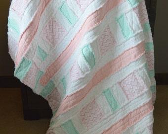 rag quilt, patchwork quilt, pink quilt, girl quilt, girl bedding, aqua quilt