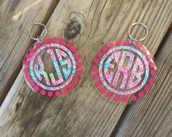 Monogrammed Lilly Pulitzer Key Chain - Lilly Pulitzer Key Chain - Preppy Key Chain
