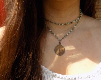 Original blue opal rustic coin necklace