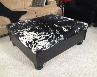 Cowhide, Cedar lined, Storage Ottoman/Coffee Table Bench
