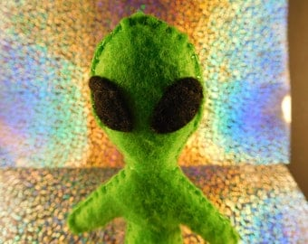 Green space alien cat toy filled with organic catnip