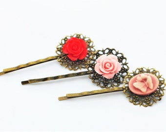 Set of 3 Handmade Blossom Flower Roses Hair Pins Hair Clips