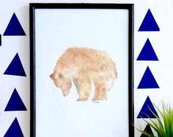 Bear print, kid's prints, nursery decor, boy's decor, watercolour bear, nursery art, girl's decor, baby shower girft