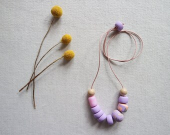 SALE Handmade Polymer Clay and Ceramic Beads Necklace Lilac Pastel
