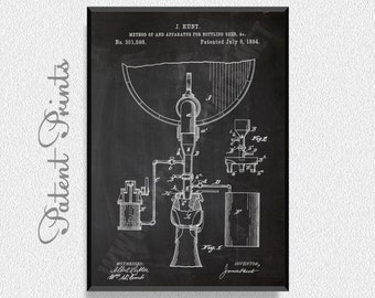 Bottling Beer 1884 Patent Print, Brewing Poster, Brewing Decor, Brewing Blueprint, Beer Print, Beer Poster, Beer Art