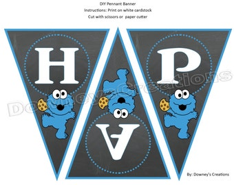 Cookie Monster INSTANT DOWNLOAD DIY Printable Happy Birthday Banner
