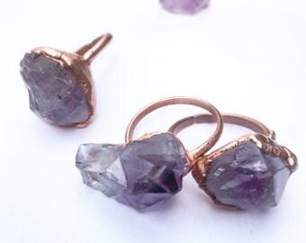 Raw Amethyst Ring | Copper Crystal Ring | Purple Crystal Ring | Electroformed Crystal Ring