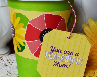 mothers day favor-baby shower favor-baby shower gift tag-mom-tea party-paper cup-garden party
