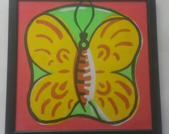 Red and Green Apple Butterfly Screenprint