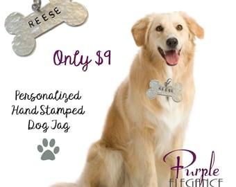 Dog Name Tag , Bone Shaped , Personalized ID Tag