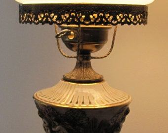 Antique Cherub Table Lamp, Porcelain Cherub Angels Lamp, Embossed Cherubs Lamp, Decorated Table Lamp, Vintage Cherub Table Lamp