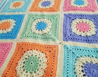 Flower Burst Crocheted Afghan