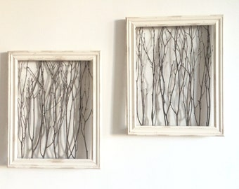 Rustic Framed Branches - Natural Wall Decor (1 Medium Frame), Rustic Wall Decor, Rustic Frame, Birch Branch Decor