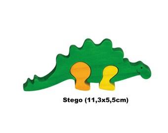 Mini Puzzle Dino Stego / Handmade / Animals / Wooden toys / Dino / Waldorf / Montessori
