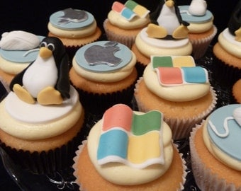 Edible Geek Computer Themed Cupcake Toppers