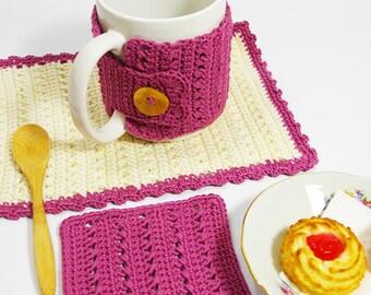 Set mug rug crochet - Set da colazione all'uncinetto