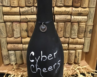 Message on a Bottle!  Cyber Cheers from afar when you can't be there!  Recycled crafted wine bottle.  Chalkboard painted bottle! Wine gift!