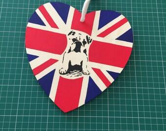 Decorative Hand Painted Union Jack Bulldog Design Hanging Wooden Heart