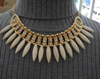 Vintage Rhinestone Bib Necklace #490