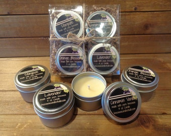 4 Pure beeswax scented candles in 4 oz tins