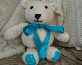 Wish-Bear: a hand knitted teddy bear with a wish woven with every stitch!