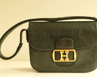 Vintage Green Ostrich Leather Pattern Handbag