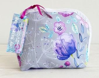 Make up / cosmetic bag, featuring my original watercolour 'Joy', waterproof lining.